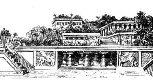 SPCF.FR : Illustration des jardins suspendus de Babylone selon le petit Larousse de 1912